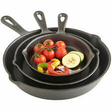 3 Pcs CAST IRON PAN SET BLACK PRE SEASONED SKILLET NON STICK FRYING PAN BBQ UK