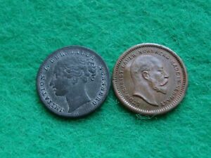 Victoria Toy / play Money One Shilling & 1902 Edward VII One Penny [SE-19]
