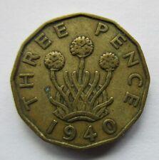 Uk / Great Britain 1940 Three 3 Pence George Vi Wwii Era Coin