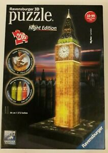 Ravensburger Used Big Ben Night Edition 216 Piece 3D Jigsaw Puzzle with LED