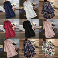 Plus Size Fashion Women Long Shirt Dress Oversize Asymmetrical Tops Dress S-5XL