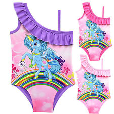 Girls Kids Beachwear Holiday Swimwear Swimsuit One Shoulder Summer Beach Bikini