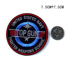 Patch Toppa Top Gun United States Navy Abbigliamento Ricamata Termoadesiva 7,5cm