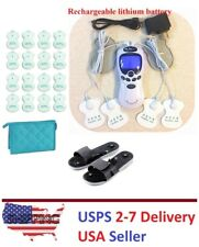 TENS Unit Rechargeable Massager Digital Therapy Acupuncture Pads TWO outputs B