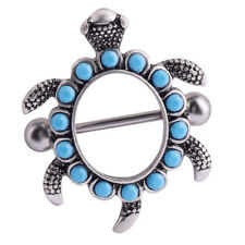 Stainless Steel Turquoise Beads Turtle Nipple Bar Ring Body Piercing Jewelry Thk