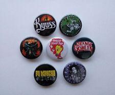 7 x Stoner Rock badges, buttons (monster magnet,kyuss,sleep,qotsa, heavy metal)
