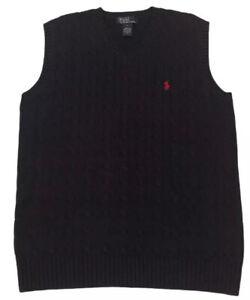 Boy's Sz L (14-16) Polo Ralph Lauren Navy Blue Cable Knit Sweater Vest EUC