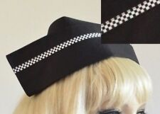 Vintage style BLACK FABRIC NURSE HAT novelty police chequered stripe 2 buttons