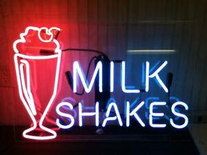 """17""""x14""""Milk Shakes Neon Sign Light Man Cave Room Wall Hanigng Nightlight Artwork"""