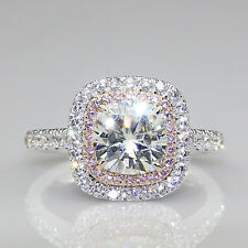 Double Halo Cushion Cut 2ct Moissanite 14K White Gold Pave Pink Accents Ring