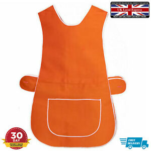 LADIES TABARD APRON KITCHEN OVERALL CATERING TABBARD CLEANING POCKET PLUS ORANGE