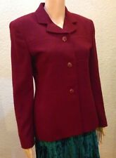 Jones New York Bordeaux Red 100% Pure Wool Blazer Jacket Lined NWOT Sz 4 Holiday