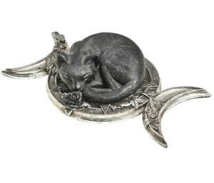 Alchemy Gothic Triple Moon Sleeping Black Cat Ornament Wiccan Kitty Crescent V90
