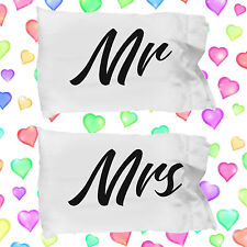 Mr and Mrs Pillow Cases ~ 2 White Microfiber Couples Pillowcases