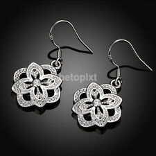Ladies Women Fashion Jewelry 925 Silver Plated Flower Dangle Hook Earrings