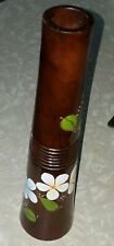 Vintage Vase Mango Wood Flower Motif Home Decor Mango Wood 12""