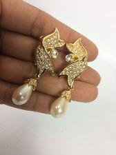 Beautiful Vtg Christian Dior Faux Pearl Rhinestone Gold tone Clip On earrings