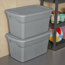30 Gallon Plastic Tote Containers Storage Moving Box Bin Lids Set of 6 Gray New