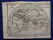 Mapa grabado cobre antiguo original Mundo Antiguo, Ptolomeo, la Pluche 1752