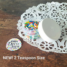 12 Low Profile 1/3 ounce Container 2 tsp cosmetic 3801 WHITE Caps Lids DecoJars