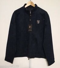 EA COLLECTION Italy Style Dark Navy Blue XL Suede Leather Jacket BRAND NEW