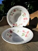 "Vintage Gibson China Pink Roses 7"" Soup/Cereal Bowls - Set of 2"
