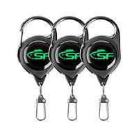 3 SF Fly Fishing Gift Tool Zinger Retractor  Carabiner Clip Nylon Cord 60cm NEW