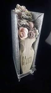 "hand made ""mum "" vase and flowers book fold origa"