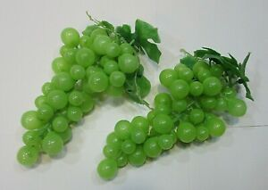 Two green grape bunches life sized vintage decorative plastic fruit FREE S/H