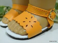 "**SALE** ORANGE Flower-Cut DOLL SANDALS SHOES fits 18"" AMERICAN GIRL DOLL D/Z"