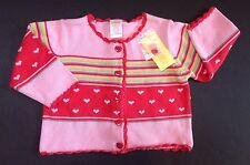 NWT Gymboree Tiny Hearts 12-18 Months Pink Striped Crochet Trim Cardigan Sweater