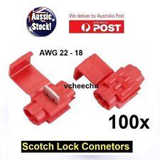 100PCS WIRE CONNECTOR SCOTCH LOCK QUICK SPLICE RED WIRE TERMINALS AUTO CAR