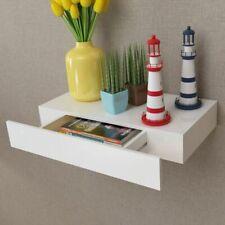 vidaXL Floating Wall Display Shelf With 1 Drawer MDF 48cm White Book Storage