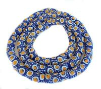 Ghana African Matched Cobalt Blue with yellow eye Recycled glass trade beads