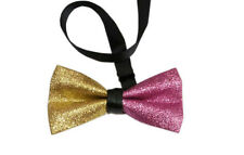 Men Faux Leather Hot PInk Gold Stitching Shining Bow Tie Bowtie Wedding Party