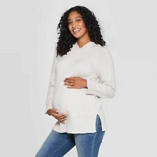 Isabel Maternity Rib Knit Hoodie Pullover Sweater Oatmeal NWT $30 Size XXL