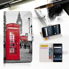 British Phone Booth Wallet Case Cover For Nokia 6 2018 -- A024