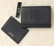 2 In 1 Ralph Lauren RL Logo Leather ANSTEY II Zip Wallet Handbag Card ID Holder