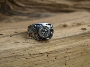 Stainless Steel Nickel 45 Auto Bullet Ring with Cross Guns.  Optional Crystal.