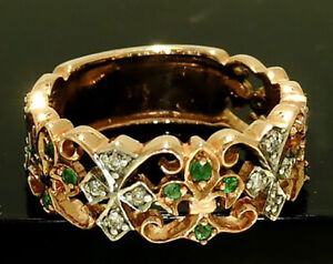 R198 Genuine 9ct ROSE Gold NATURAL Emerald & DIAMOND Eternity Ring size N