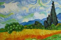Van Gogh Field with Cypresses Repro, Quality Hand Painted Oil Painting, 24x36in