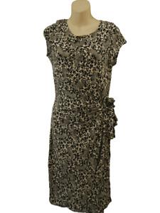 Wallis Dress Leopard & Leaf Print Size 12 Stretchy Unusual Versatile Black White