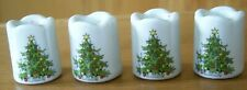 Funny Design W Germany 4 Miniature Ceramic Scalloped Candle Holder Xmas Tree