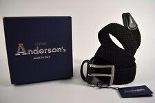 ANDERSON'S cintura uomo SPORTIVA treccia ELASTICA nera pelle CUOIO senza buchi