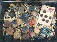 HUGE LOT Vintage Antique Buttons in Metal Box 6.5lb Unchecked Unsorted Bakelite?
