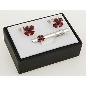 Equilibrium Silver Plated Men Poppy Cufflinks  Tie clip   Boxed 274408