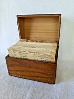 Vintage Wooden Dovetail Recipe Box With Handwritten and Clipped Recipe Cards