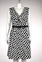 Chetta B Dress Size 10 Black Printed Sheath Sleeveless Knee Length Casual