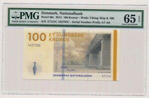 DENMARK banknote 100 KRONER 2013. Callesen sign. PMG grade MS-65 EPQ