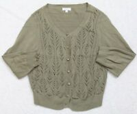 Joseph A. Banks Long Sleeve Women's Large Cardigan Sweater Cotton Woman's Green
